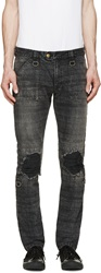 Blackmeans Black Faded And Ripped Jeans