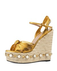 Gucci Barbette Knotted Espadrille Wedge Sandal Gold