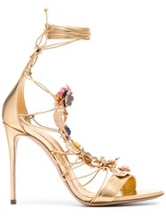Casadei Stone Embellished Lace Up Sandals Women Leather Brass Kid Leather 36 Metallic