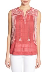 Women's Lucky Brand Embroidered Sleeveless Cotton Blouse Red Multi