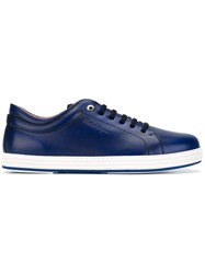 Salvatore Ferragamo Low Top Sneakers Men Leather Rubber 10 Blue