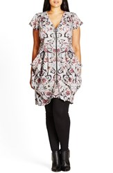 City Chic Plus Size Women's 'Silver Mosaic' Print Zip Front Pleat Tunic
