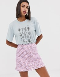 Neon Rose Relaxed T Shirt With Seashells Print Blue