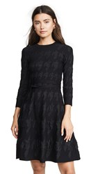 Yigal Azrouel Houndstooth Fit And Flare Dress Jet