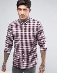 Fred Perry Summer Tartan Long Sleeve Shirt In Red Red