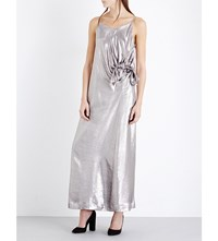Isa Arfen Metallic Silk Blend Dress Silver Lurex
