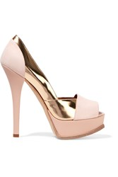 The Fendista Metallic Leather Paneled Suede Platform Pumps Pink