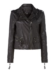 Label Lab Washed Leather Biker Jacket Black