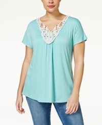 Ing Plus Size Short Sleeve Crochet Top Mint