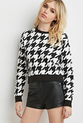 Forever 21 Houndstooth Pullover Sweatshirt White Black