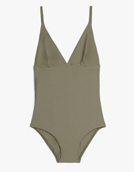 Matteau Swim Plunge Maillot In Olive