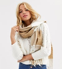 New Look Check Scarf In Camel Tan