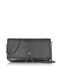 Zadig And Voltaire Black Embossed Leather Rock Cobra Clutch