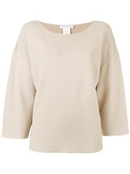 Fabiana Filippi Three Quarters Flared Sleeves Jumper Nude Neutrals