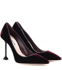 Miu Miu Velvet Pumps Red