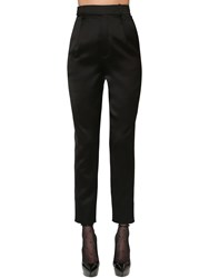 Saint Laurent High Waist Viscose Satin Pants Black