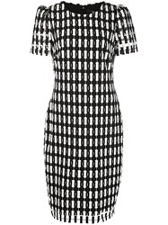 Badgley Mischka Check Patterned Dress Black