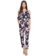 Adelyn Rae Printed Jumpsuit Navy Multi Women's Jumpsuit And Rompers One Piece Blue