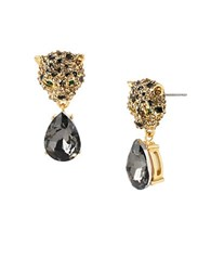 Betsey Johnson Pave Leopard And Faceted Stone Drop Earrings Gold