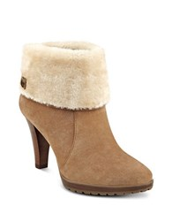Anne Klein Teamy Faux Fur Suede Ankle Boots Natural
