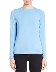 Lord And Taylor Iconic Fit Crewneck Sweater Blue Coast