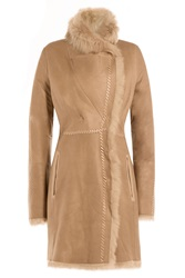 Yves Salomon Lamb Leather Coat With Shearling Brown
