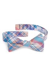 Southern Tide Boca Vista Plaid Silk Bow Tie Aqua