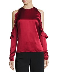 Cushnie Et Ochs Ruffled Cold Shoulder Satin Blouse Ruby