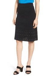Ming Wang Pointelle Knit A Line Sweater Skirt Black Ivory