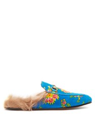 Gucci Princetown Shearling Lined Corduroy Loafers Blue Multi