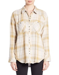 Free People Plaid Button Down Shirt Charcoal Combo