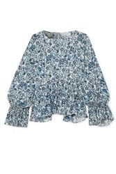 Apiece Apart Midnight Ruffled Floral Print Cotton Gauze Blouse Navy