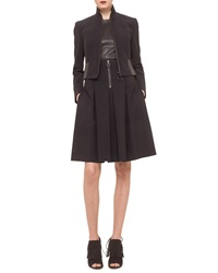 Akris Punto Cropped Faux Leather Trimmed Jacket