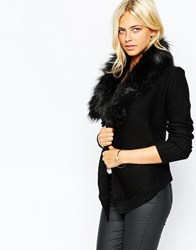 Oasis Faux Fur Trim Drape Cardi Black