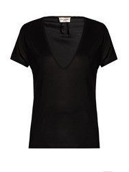 Saint Laurent Deep V Neck Silk Jersey T Shirt Black