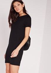 Missguided Short Sleeve T Shirt Dress Black Black