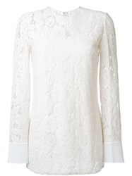 Lanvin Floral Long Sleeved Top Nude And Neutrals