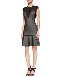Tracy By Tracy Reese Cap Sleeve Lace Yoke Bonded Mesh Dress