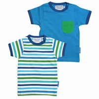 Toby Tiger Blue Multi Stripe T Shirt 2 Pack White Blue Green