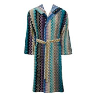 Missoni Home Giacomo Hooded Bathrobe 170 Blue