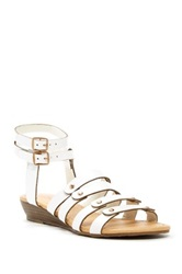 Red Circle Sergeant Wedge Sandal White