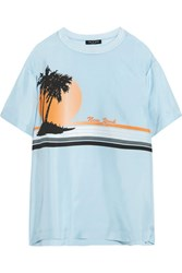 Rag And Bone Griffin Printed Silk Crepe De Chine T Shirt Sky Blue