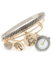 Styleandco. Style And Co. Women's Two Tone Charm 3 Pc. Bangle Bracelet Watch Set 20Mm Sy010sg Only At Macy's