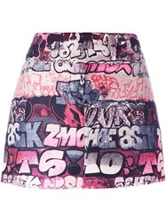 Giamba Printed Mini Skirt Pink And Purple