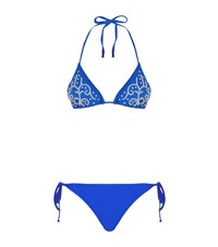 Elizabeth Hurley Beach Crystal Embellished Triangle Bikini Female Blue