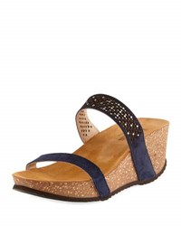 Neiman Marcus Reece Two Band Wedge Sandal Blue