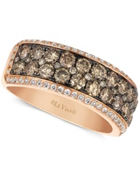Le Vian Chocolate And White Diamond 2 Row Band 1 1 2 Ct. T.W. In 14K Rose Gold
