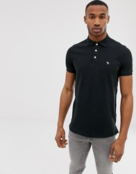 Abercrombie And Fitch Icon Logo Pique Polo In Black