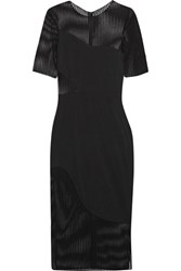 Haney Jacqueline Stretch Knit Paneled Jersey Dress Black
