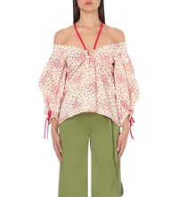 Rosie Assoulin Halterneck Off The Shoulder Crepe Top Red
